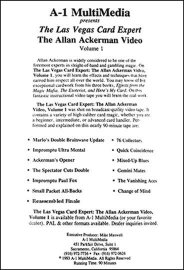 Allan Ackerman The Las Vegas Card Expert The Allan Ackerman Video Volume One 1 Table of Contents